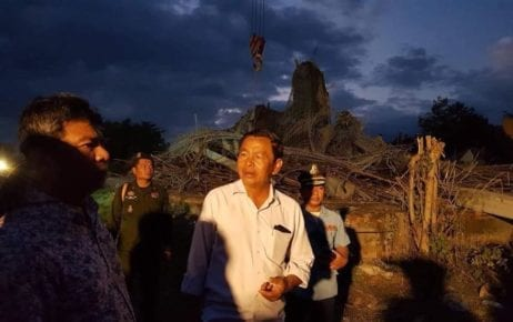 Officials visit the site of a collapsed pagoda building on December 2, 2019, in this photograph posted to the Siem Reap Provincial Hall's Facebook page.