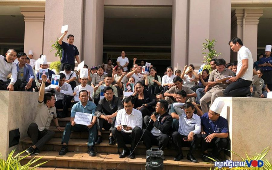 More than 100 employees of The Great Duke hotel in Phnom Penh protest to demand their wages on November 4, 2019. (Khut Sokun/VOD)