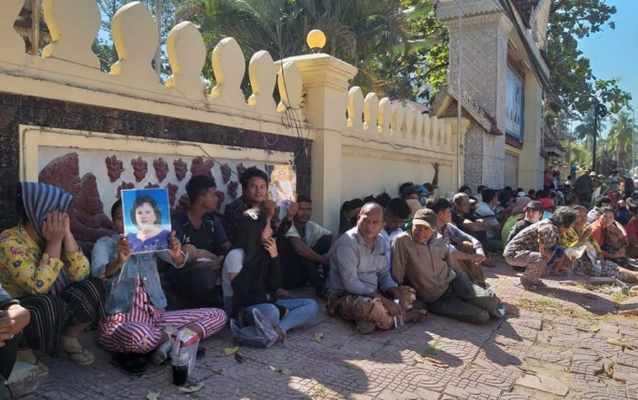 Land dispute victims in Preah Sihanouk province gather in front of the provincial hall on December 9, 2019 to deliver a petition, a day ahead of a rejected rally for International Human Rights Day. (CCFC)
