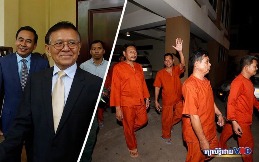 Kem Sokha greets reporters outside his home on November 11, 2019; CNRP activists are escorted outside the Phnom Penh Municipal Court on November 14, 2019. (Panha Chhorpoan/VOD)