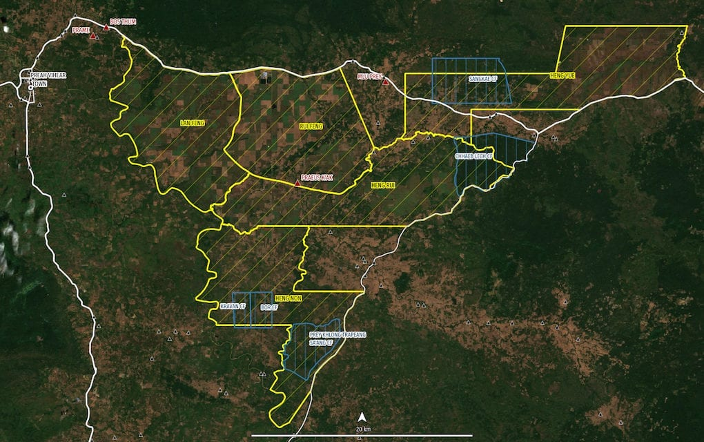 A map of Preah Vihear province with economic land concessions in yellow and community forests in blue (Licadho)