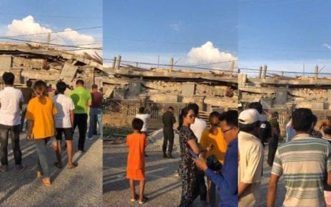 The site of a building collapse in Kep province on January 3, 2019. (National Police)
