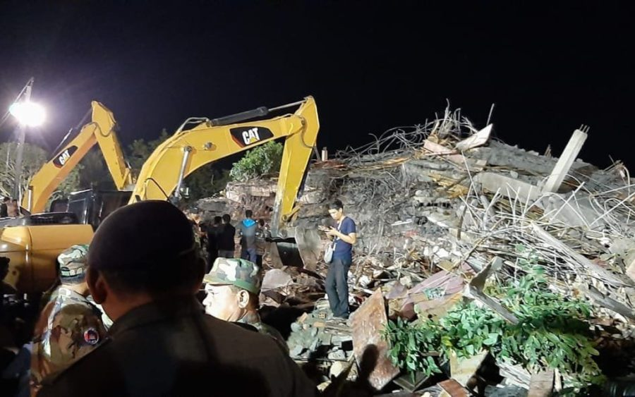 The site of a building collapse in Kep during the night of January 3, 2020. (Pov Meta/VOD)