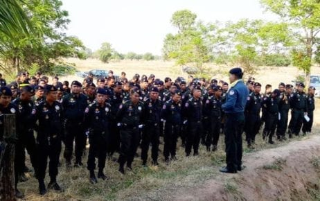 Banteay Meanchey provincial military police officers stand in formation (Banteay Meanchey provincial military police)