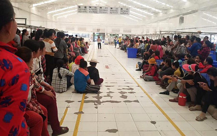 Factory workers gather for a strike at the Dignity Knitter factory in Kandal province on January 17, 2020. (Sok Sreysros/Supplied)