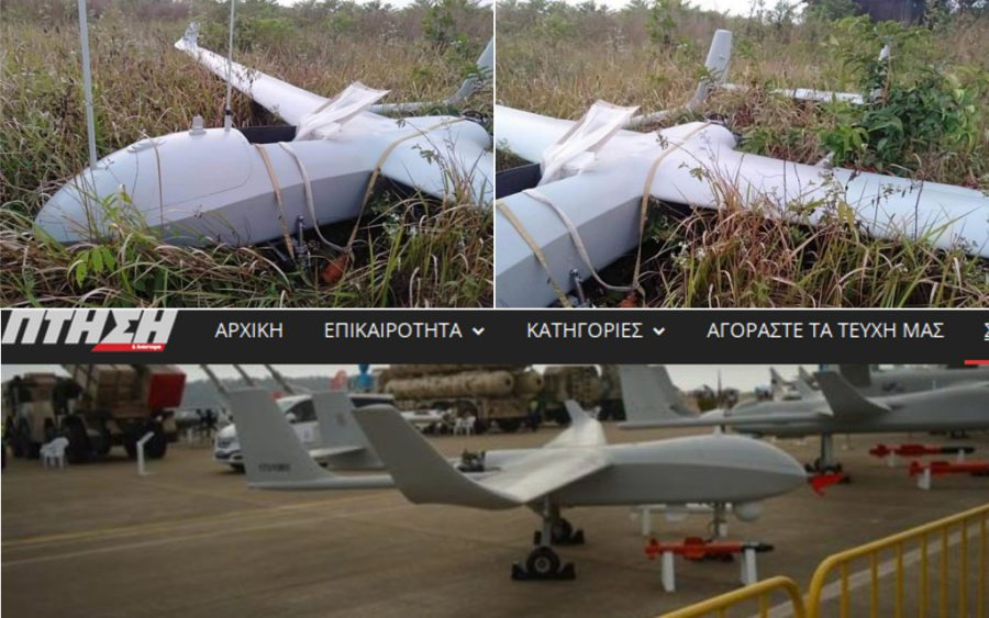 Photos of the drone found in Koh Kong province, shared by Information Minister Khieu Kanharith, above; and a screenshot of a photo of a CH-92A drone published by Greek magazine Ptisi & Diastima, below