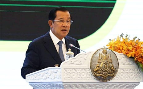 Prime Minister Hun Sen speaks at the Peace Palace in Phnom Penh on January 31, 2020, in this photograph posted to Hun Sen's Facebook page.