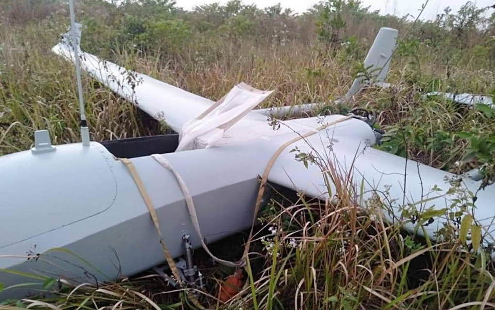 A fixed-wing drone discovered in Koh Kong province on January 16, 2020, in this photograph posted to Information Minister Khieu Kanharith's Facebook page.