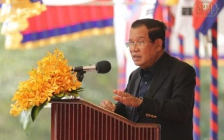 Prime Minister Hun Sen speaks on February 11, 2020, in this photograph posted to his Facebook page.
