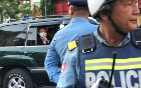 Opposition leader Kem Sokha leaves the Phnom Penh Municipal Court in his vehicle on February 12, 2020. (Ouch Sony/VOD)