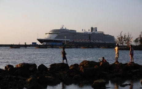 Holland America Line's Westerdam cruise ship docks at the Sihanoukville Autonomous Port on February 13, 2020 (Panha Chorpoan/VOD)