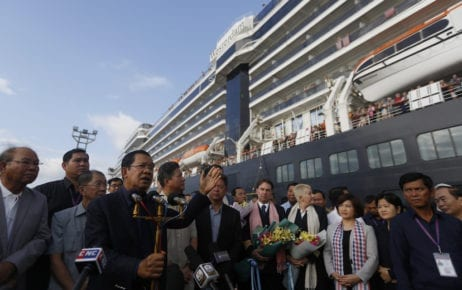 Prime Minister Hun Sen gives a speech on February 14, 2020, at the Sihanoukville port, where the Holland America Line's Westerdam cruise ship was docked. (Panha Chorpoan/VOD)