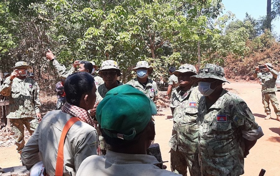 Authorities in Kampong Thom province prevent members of the Prey Lang Community Network from entering a protected area to conduct an annual tree-blessing ceremony on February 21, 2020. (Licadho)