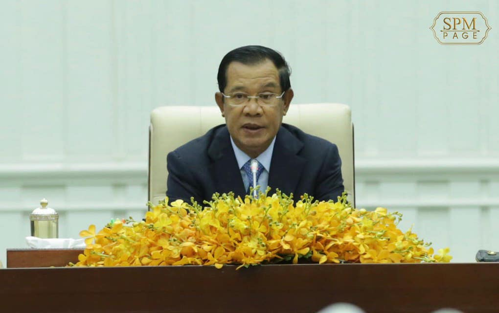 Prime Minister Hun Sen speaks at the Peace Palace in Phnom Penh on February 24, 2020, in this photograph posted to his Facebook page.