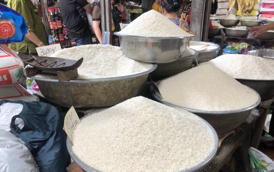 Rice for sale in Phnom Penh's Boeng Keng Kang market on March 8, 2020 (Matt Surrusco/VOD)