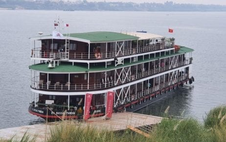 A Viking river cruise ship docked in Kampong Cham province, in this photograph posted to the Communicable Disease Control Department's Facebook page on March 11, 2020.