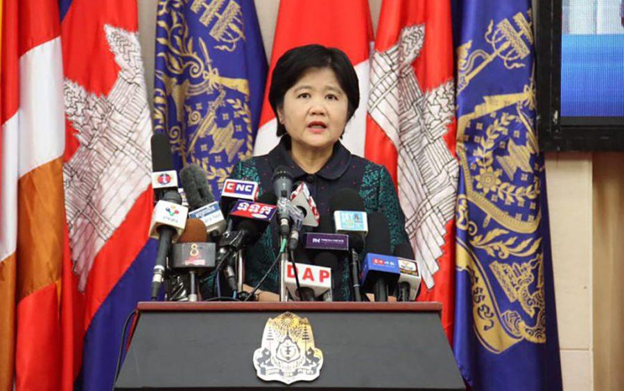 Health Ministry spokeswoman Or Vandine speaks at a press conference on March 18, 2020, in a photograph posted to the Government Spokesperson Unit's Facebook page.