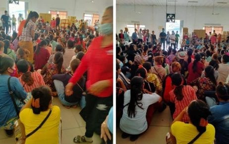 Workers at Canteran Apparel (Cambodia) Co. Ltd. protest over unpaid wages at the Phnom Penh factory on March 25, 2020. (Supplied)