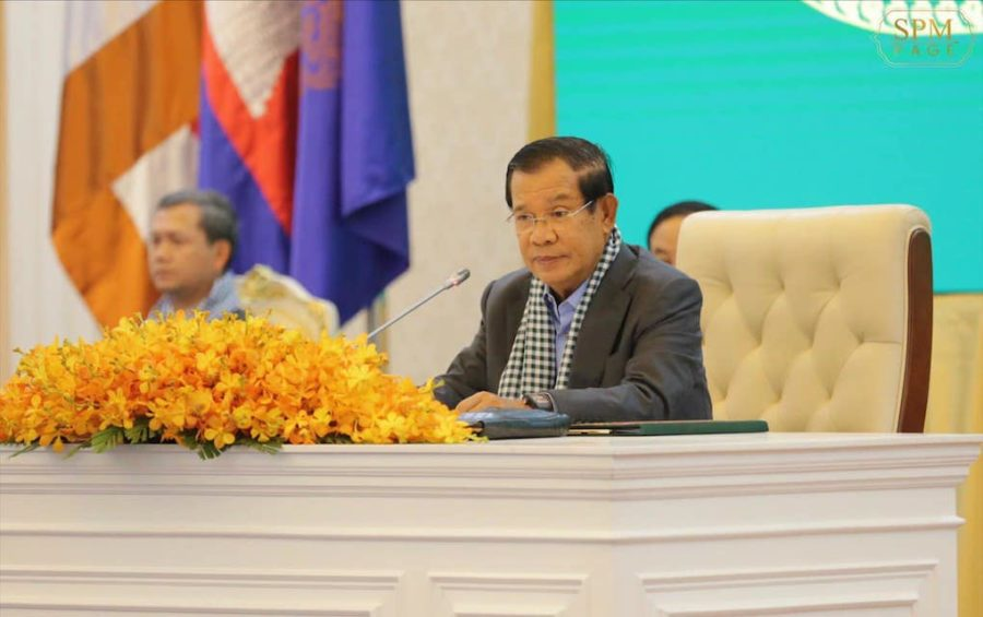 Prime Minister Hun Sen speaks at the Peace Palace in Phnom Penh on March 25, 2020, in this photograph posted to his Facebook page.