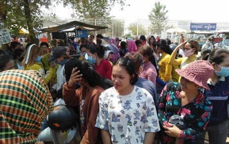 Workers at a shoe factory in Kampong Speu's Samraong Tong district protest over their suspension without compensation on March 26, 2020. (Supplied)
