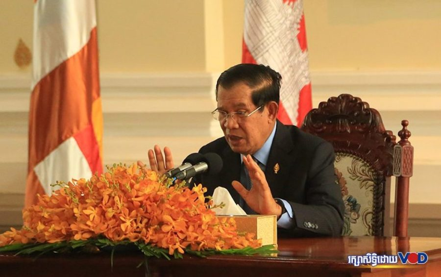 Prime Minister Hun Sen speaks during a press conference at the National Assembly on March 30, 2020. (Chorn Chanren/VOD)