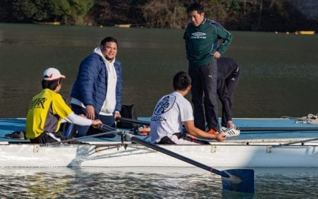Kenji Kuraki (second from left) with his rowing team on Lake Sagami, Japan on February 8, 2020. (Kantaro Suzuki)