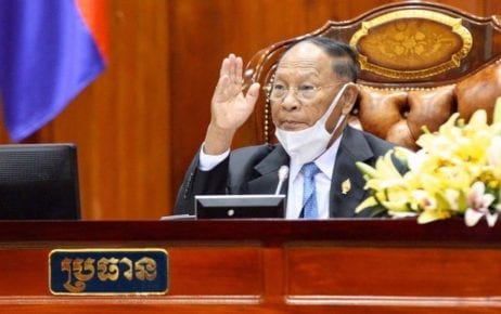 National Assembly President Heng Samrin gestures at the National Assembly on April 10, 2020, in this photograph posted to his Facebook page.