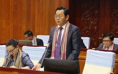 Justice Minister Keut Rith at the National Assembly on April 10, 2020, in this photograph posted to National Assembly President Heng Samrin's Facebook page.