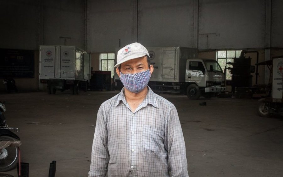 At 38 years old, Kimsoam has worked for the Medical Waste Management Unit at the Dangkor landfill in Phnom Penh for 11 years as of April 9, 2020. (Gerald Flynn)