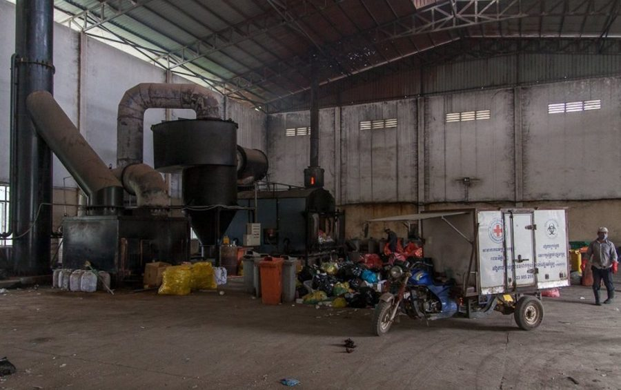 Inside the Medical Waste Management Unit's warehouse at the Dangkor landfill in Phnom Penh on April 9, 2020. (Gerald Flynn)