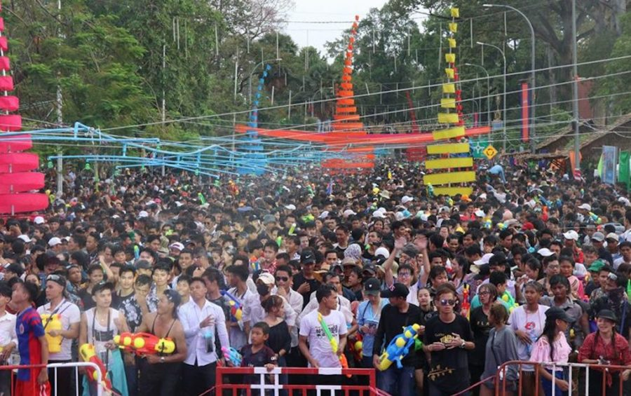 A crowd at the Angkor Sangkran event in Siem Reap during Khmer New Year in 2019, in this photograph posted to the Siem Reap Provincial Government's Facebook page.