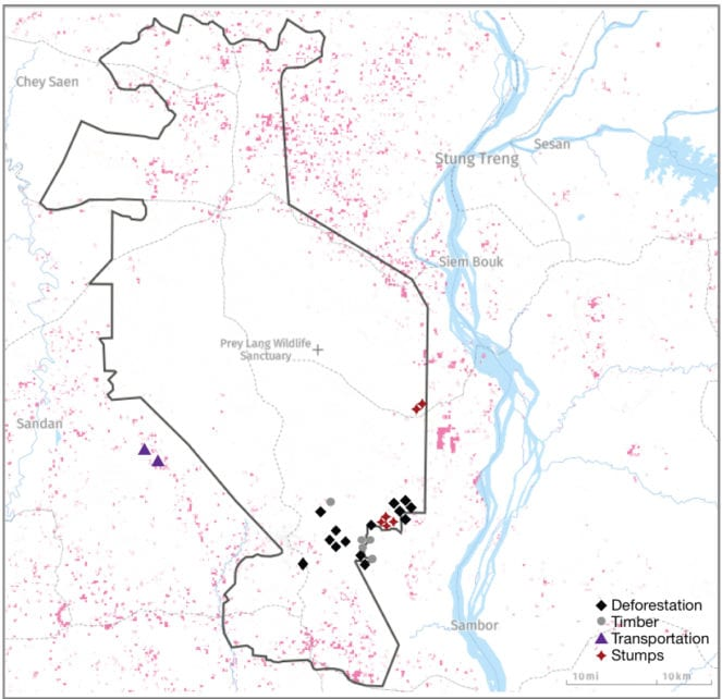 Forest disturbances in the Prey Lang Wildlife Sanctuary documented by Prey Lang Community Network from December 2019 to March 2020 (Supplied)