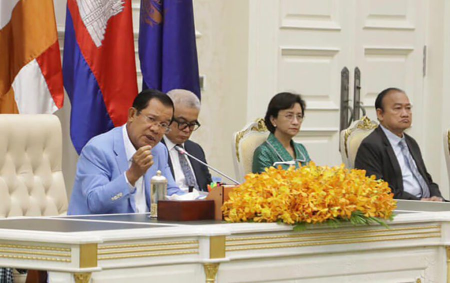 Prime Minister Hun Sen speaks about Covid-19 at a press conference at the Peace Palace, in this photograph posted to his Facebook page on April 7, 2020.