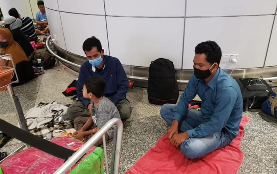 Cambodians wait to return home at an airport in Malaysia while flights to Cambodia were restricted on April 7, 2020. (Cambodian Embassy in Malaysia)