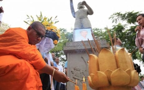 Activist monk Luon Sovath attends a ceremony marking the 13th anniversary of the murder of union leader Chea Vichea in 2017. (Supplied)