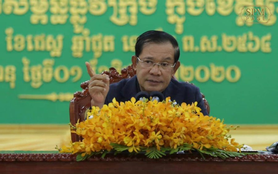 Prime Minister Hun Sen gestures during a speech in Preah Sihanouk province, in this photograph posted to his Facebook page on June 1, 2020.