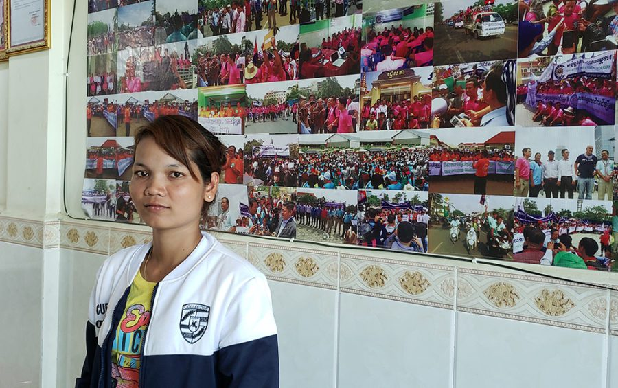 Soy Sros, union leader at Kampong Speu province's Superl (Cambodia) Co. Ltd. factory, at the Collective Union of Movement of Workers office in Phnom Penh on June 3, 2020. (Danielle Keeton-Olsen/VOD)
