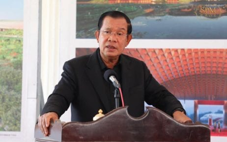 Prime Minister Hun Sen speaks at the site of a planned airport in Kandal province on June 22, 2020, in this photograph posted to his Facebook page.