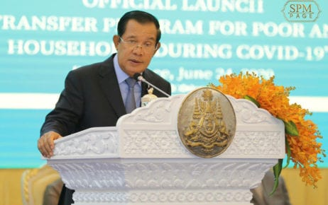 Prime Minister Hun Sen speaks at the launch of a fund to assist low-income citizens at the Peace Palace in Phnom Penh, in this photograph posted to his Facebook page on June 24, 2020.