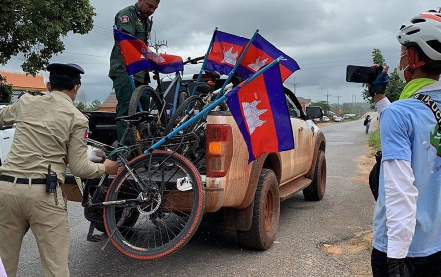 Authorities seize bicycles from activists who planned to cycle from Koh Kong province to Phnom Penh in June 2020, aiming to petition the government to make Koh Kong Krao a protected area. (Supplied)