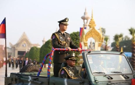 Hun Manet participates in the 20th anniversary commemoration of the creation of the Royal Cambodian Armed Forces' military headquarters in Phnom Penh, in this photograph posted to Prime Minister Hun Sen's Facebook page.