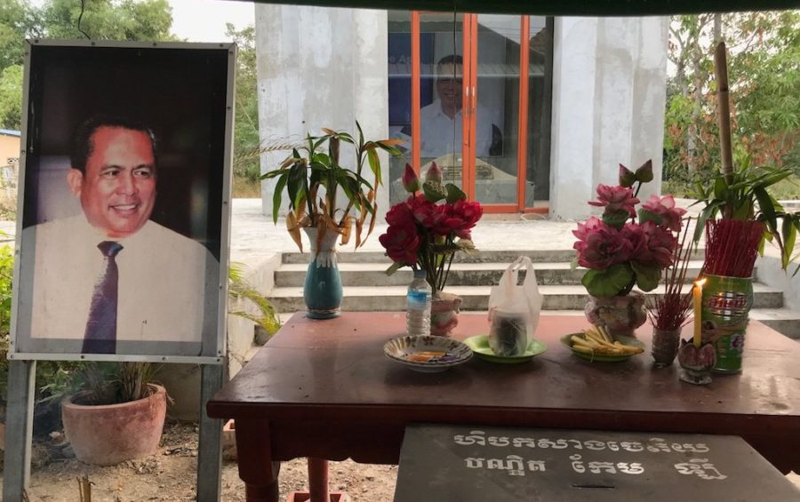 A memorial for Kem Ley and his unfinished stupa at his family home in Takeo province's Tram Kak district on January 11, 2020. (Ouch Sony/VOD)