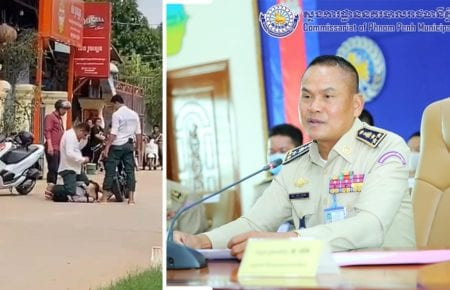 A plainclothes police officer kneels on top of a man accused of buying drugs on June 29, 2020, in a screenshot of a video that was widely shared online (left). Phnom Penh Municipal Police Chief Sar Thet (right) (Phnom Penh Municipal Police)
