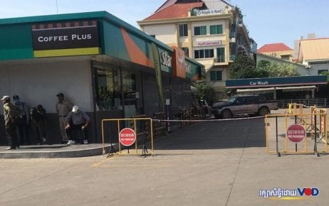 The Caltex gas station in Phnom Penh where political analyst Kem Ley was shot dead in 2016 is closed on the morning of July 10, 2020, the fourth anniversary of the murder, with authorities monitoring the area. (Khan Leakena/VOD)