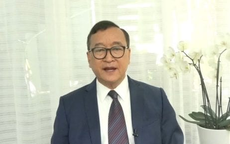 CNRP co-founder Sam Rainsy announces a 'campaign to end impunity' in a still from a video posted on his Facebook page on July 10, 2020.