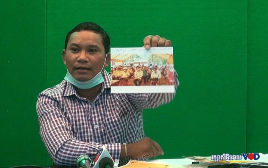 Forestry activist Chhorn Phalla speaks at a press conference on July 16, 2020 in Phnom Penh. (Chorn Chanren/VOD)