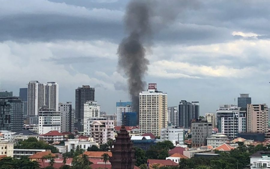 An explosion in central Phnom Penh could be seen across the city on July 18, 2020 (Matt Surrusco/VOD)
