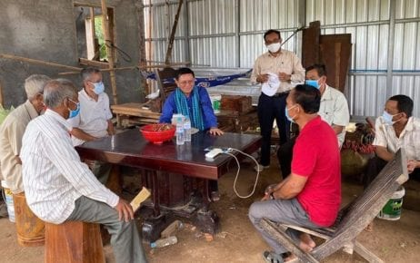 Kem Sokha, president of the outlawed opposition CNRP, meets people in Tbong Khmum province in July 2020 in a photograph posted to his Facebook page.
