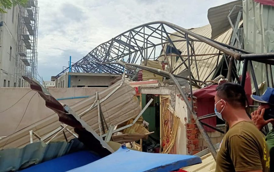 A collapsed crane crushes a metal roof in Banteay Meanchey province's Poipet City on August 12, in a photo posted to provincial police chief Ath Khem's Facebook page.