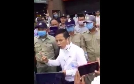 Pen Chansangkream, a former CNRP district councilor in Phnom Penh, speaks at a protest on August 13, 2020, in a video provided by the CNRP.